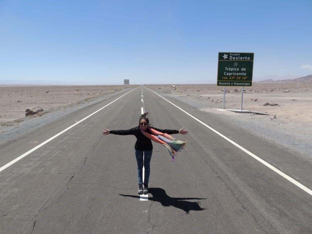 A clássica foto no Trópico de Capricórnio - Atacama