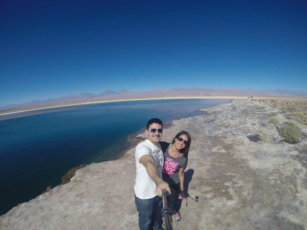 Clima agradável na Laguna Cejar - Deserto do Atacama