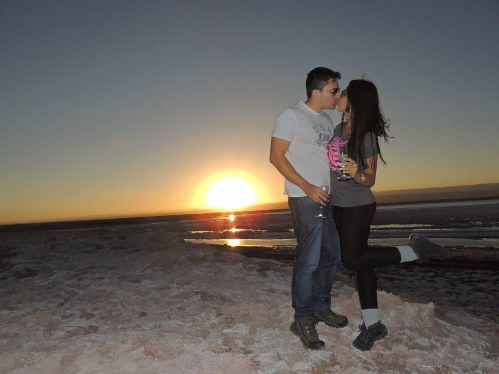 Por do sol na Laguna Tebinquinche - deserto do Atacama